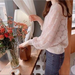 Dusty Rose Bell-Sleeve Laced Sweater